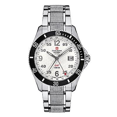阿爾卑斯 S.A.M-獨家限定-翱翔傳奇系列-GMT/白錶盤/不鏽鋼鍊帶/42mm