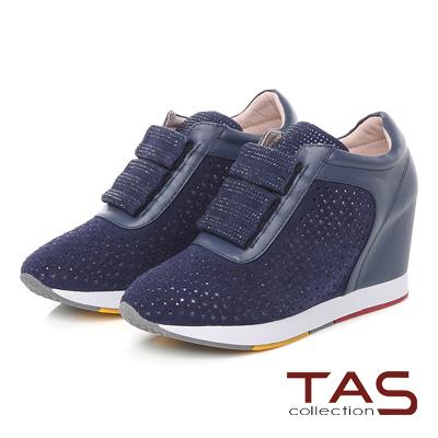 TAS 三角沖孔燙彩鑽內增高休閒鞋-星空藍