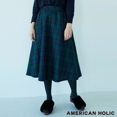 AMERICAN HOLIC 學院風格紋長裙