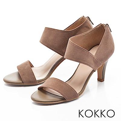 KOKKO-最夯話題簡約線條真皮高跟涼鞋-中性灰