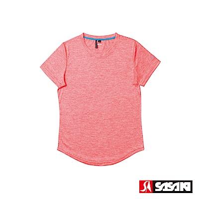 SASAKI 抗紫外線速乾吸排功能休閒圓領短衫-女-豔桔/科技藍