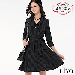 洋裝V領歐版直條綁帶顯瘦OL釘珠胸針小香風