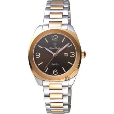 Olympianus 奧柏 經典復刻女錶-咖啡x雙色/34mm