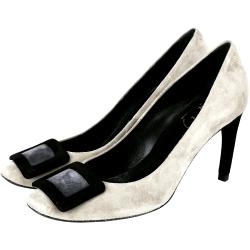 Roger Vivier Belle de Nuit 經典方框麂皮高跟鞋(灰色)