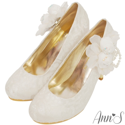Ann'SBridal巴洛克蕾絲珍珠紗花苞可拆2way防水台厚底高跟婚鞋