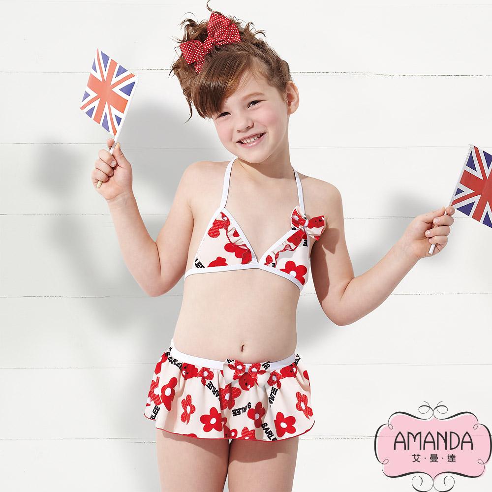 AMANDA 艾曼達 女童泳裝 比基尼-紅麗-8506附帽