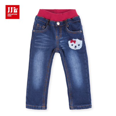JJLKIDS 日系點點小熊刷毛牛仔褲(牛仔藍)