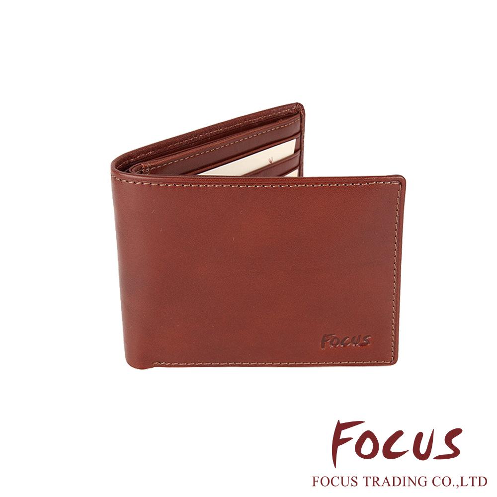 FOCUS 原皮-文創手作系列 簡單對折雙格層拉鏈袋皮夾