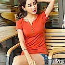LIYO理優V領排釦棉T恤(黑,白,橘,粉)