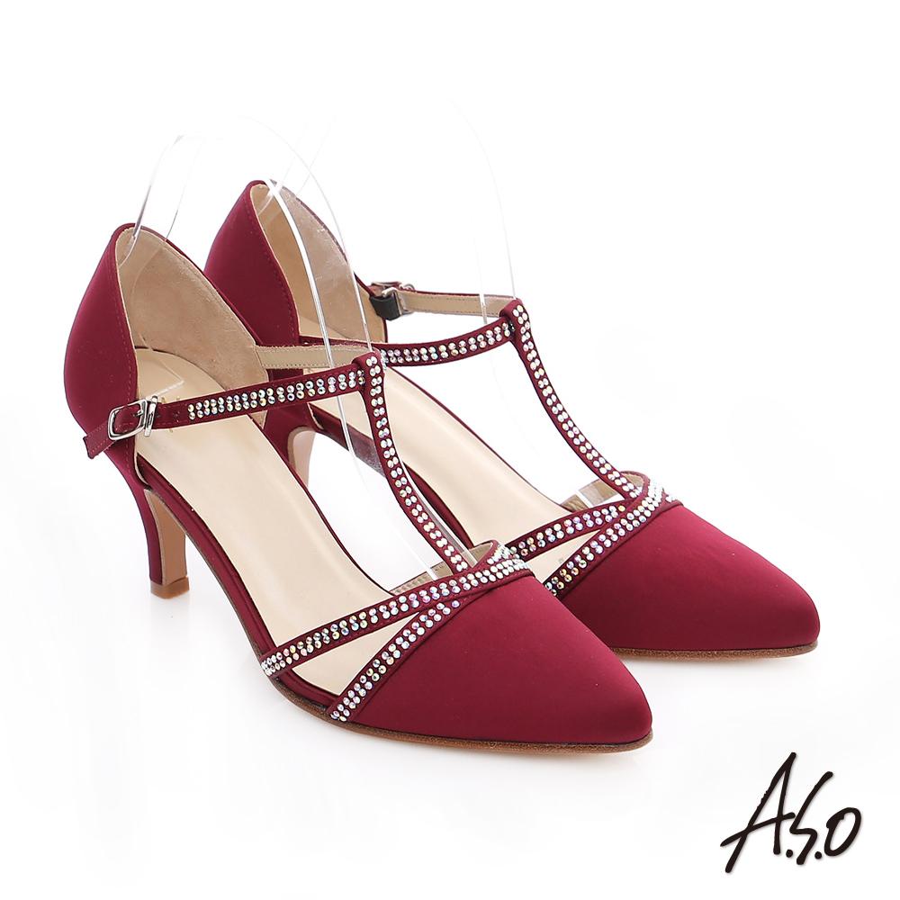 A.S.O 經典晚宴 緞布水鑽T字高跟鞋 酒紅色