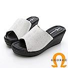 GEORGE 喬治-水鑽菱格紋厚底拖鞋楔型鞋-灰