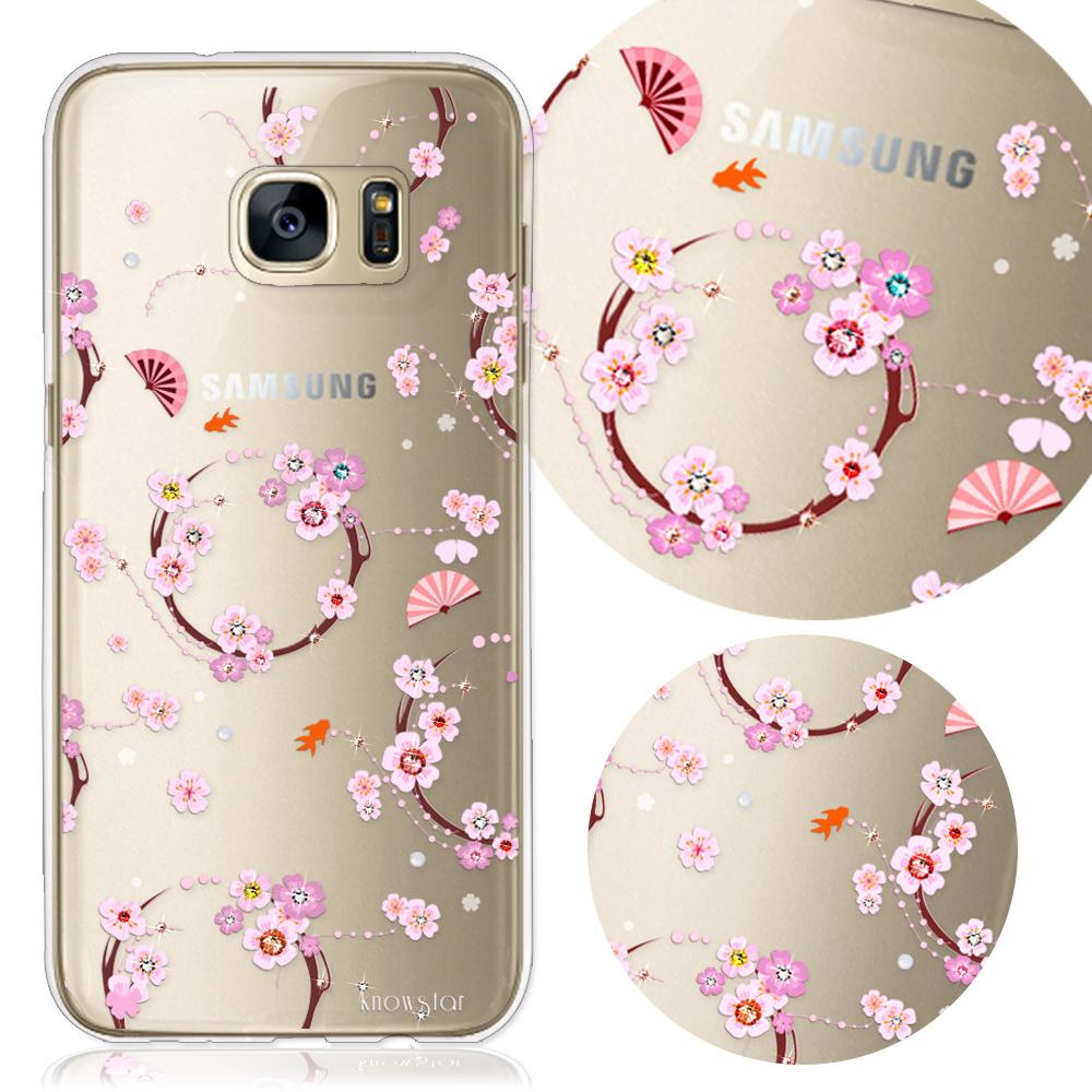 KnowStar 三星 Galaxy S7 Edge 奧地利水晶彩繪手機鑽殼-櫻之舞
