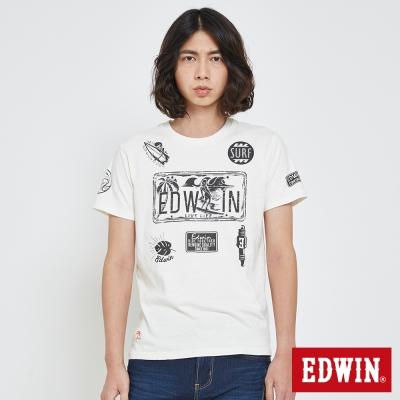 EDWIN 衝浪圖騰印花T恤-男-米白