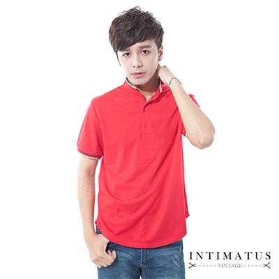 INTIMATUS 素色涼感 立領短袖 POLO衫 紅色