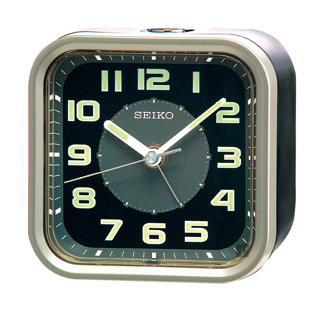 SEIKO精工 大數字嗶嗶聲靜音貪睡鬧鐘(QHE128T)-黑/9.4X9.7cm