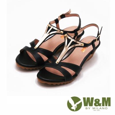 W&M 優雅氣質楔形跟涼鞋 女鞋-黑(另有米)