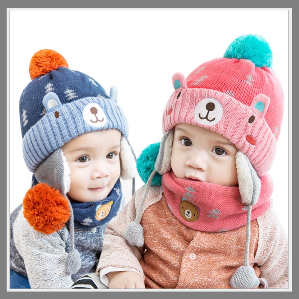笑臉小熊 護耳 兒童毛絨帽+圍脖2件組-二色