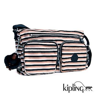 Kipling 斜背包 簡約條紋密橙-中