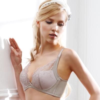 羅絲美內衣 - 玩美花顏3/4罩深V泡棉款A-D罩杯內衣 (膚灰色)