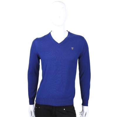 TRUSSARDI-JEANS 靛藍色素面V領長袖針織衫