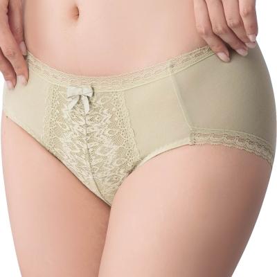 思薇爾 冰冰Bra系列M-XXL蕾絲中腰三角內褲(草灰綠)