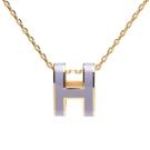 HERMES 經典Pop H立體簍空橢圓LOGO項鍊(金X粉紫)