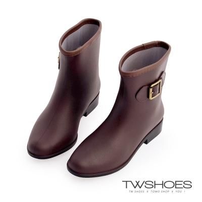 TW Shoes時尚韓版淑女中筒雨靴-咖