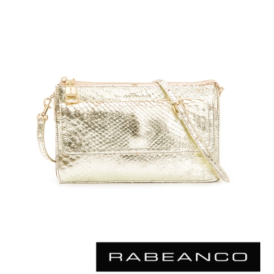 RABEANCO-獨特牛皮爆裂紋斜肩背包-金