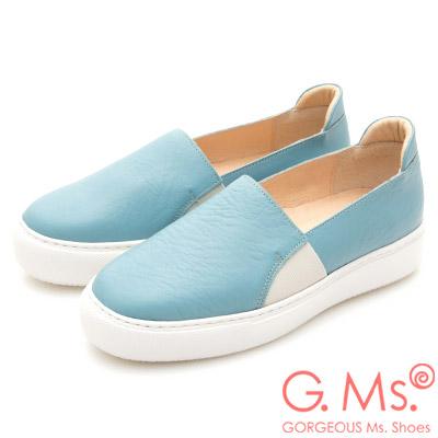 G.Ms. MIT系列-百搭Q彈牛皮素面顯瘦厚底懶人鞋-藍色