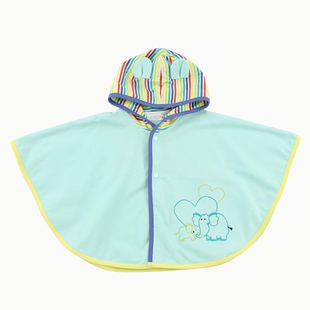 愛的世界 純棉條紋帽耳連帽披風/6M~1歲