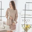 東京著衣-yoco 氣質美學袖口蝴蝶結拼接壓褶洋裝-S.M.L(共二色)