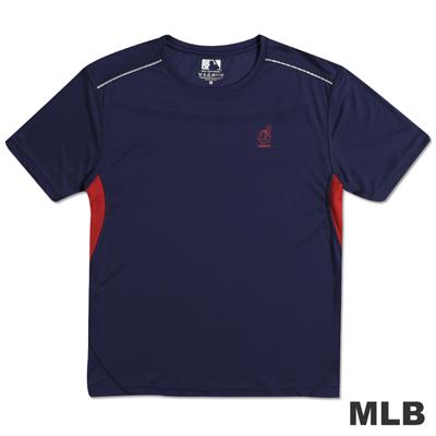 MLB-克里夫蘭印地安人隊反光合身吸濕排汗T恤-深藍(男)