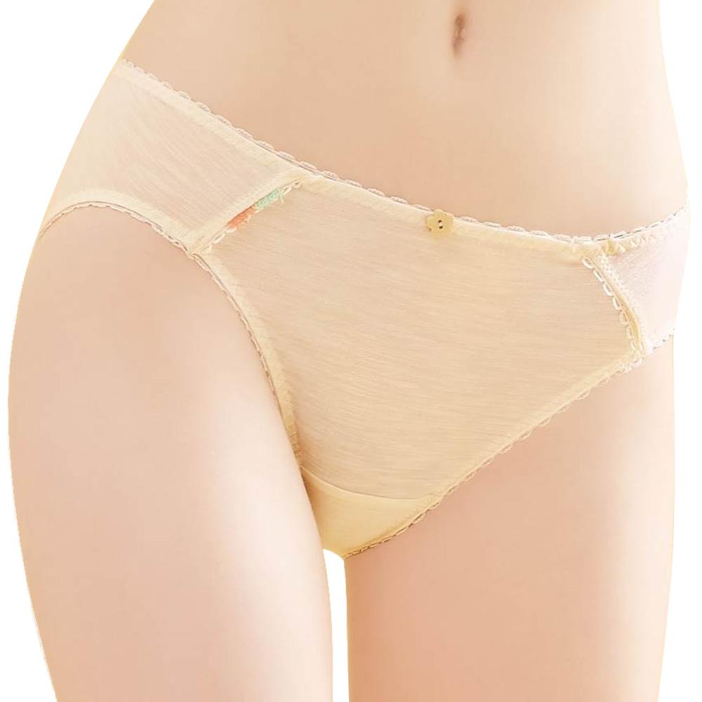 思薇爾 竹蜻蜓輕甜風系列M-XL素面低腰三角內褲(香草奶)