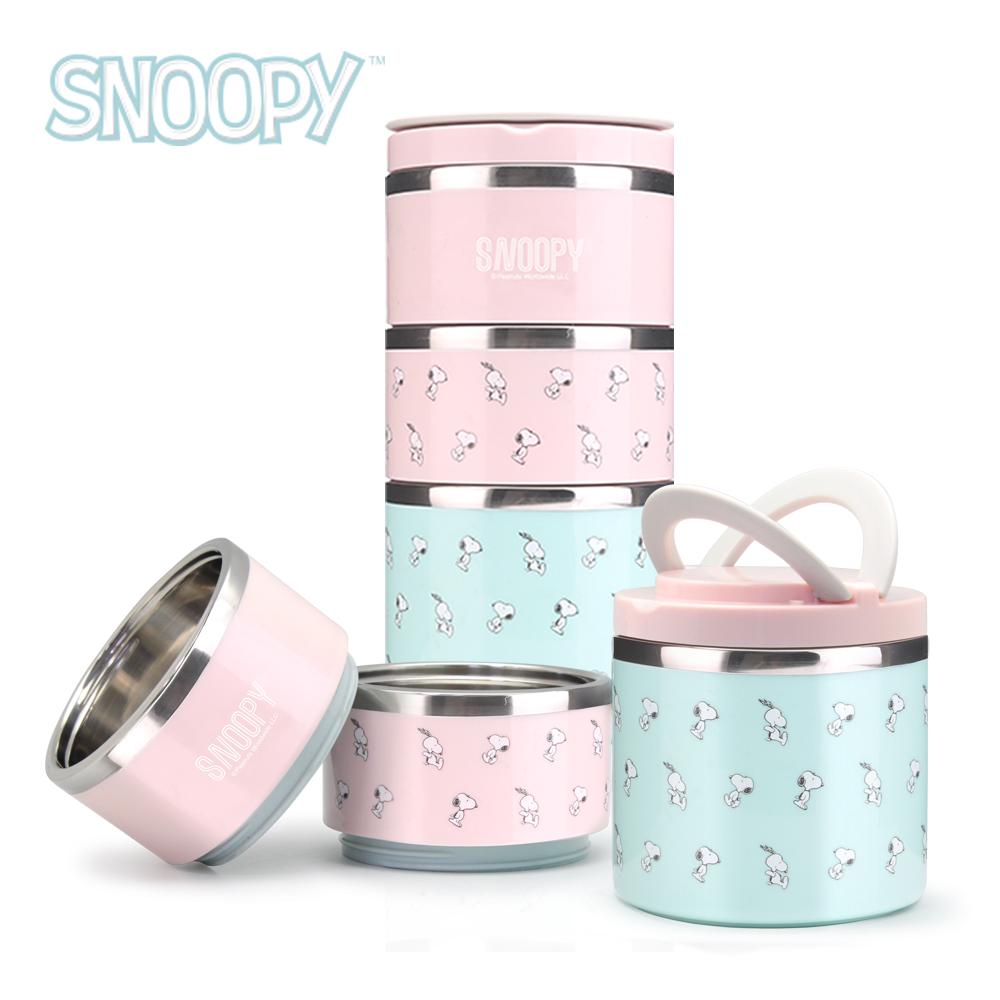 Snoopy 史努比馬卡龍#304不鏽鋼三層保溫餐盒組1200ml