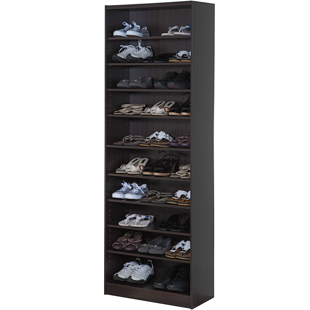 Robin-胡桃木色十層多功能空鞋櫃