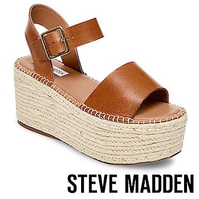 STEVE MADDEN-CABO-真皮一字寬版草編厚底鞋-咖啡