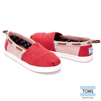 TOMS 抽繩條紋拼接懶人鞋-孩童款