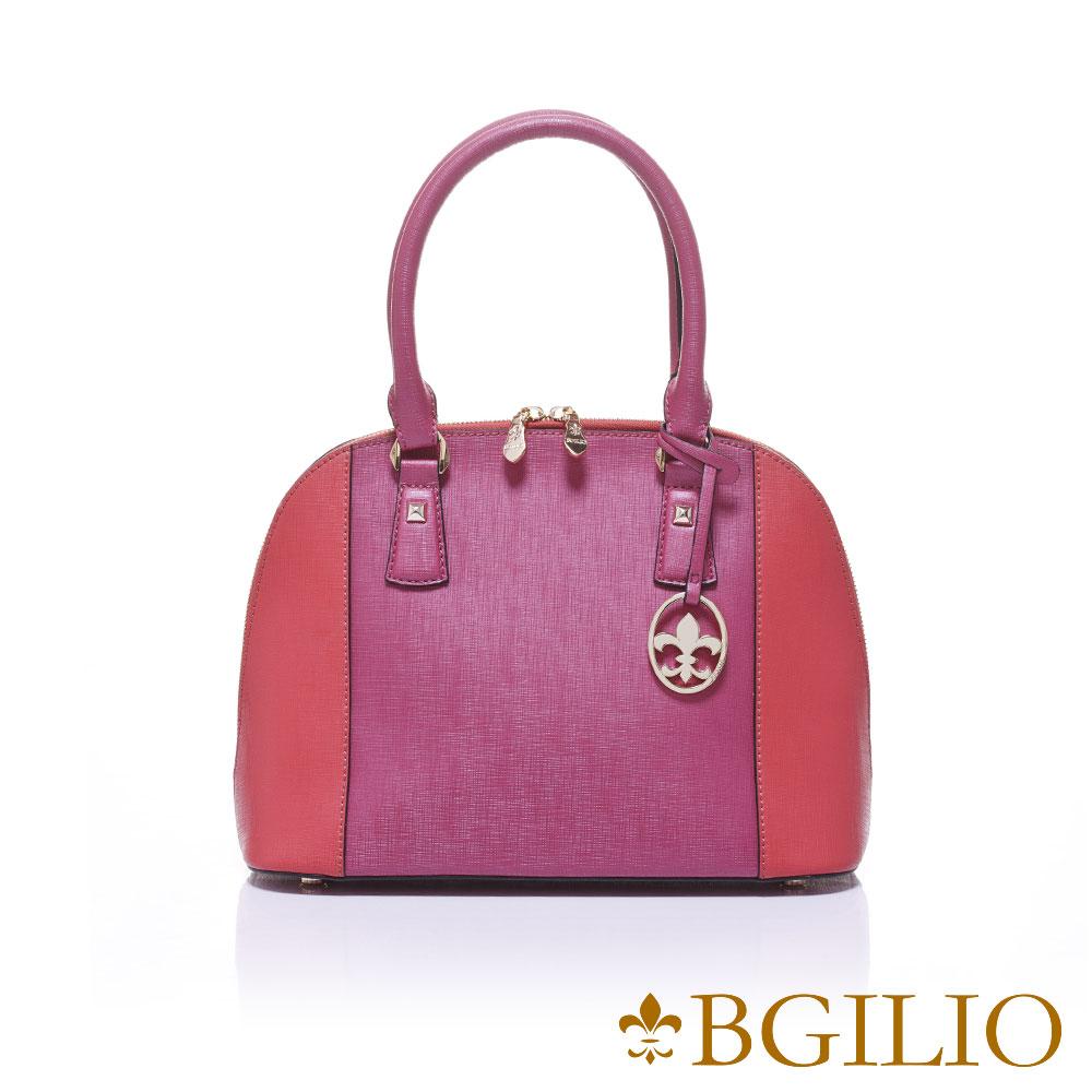 義大利BGilio-十字紋牛皮雙色貝殼包(大款)-桃紅1946.002-14