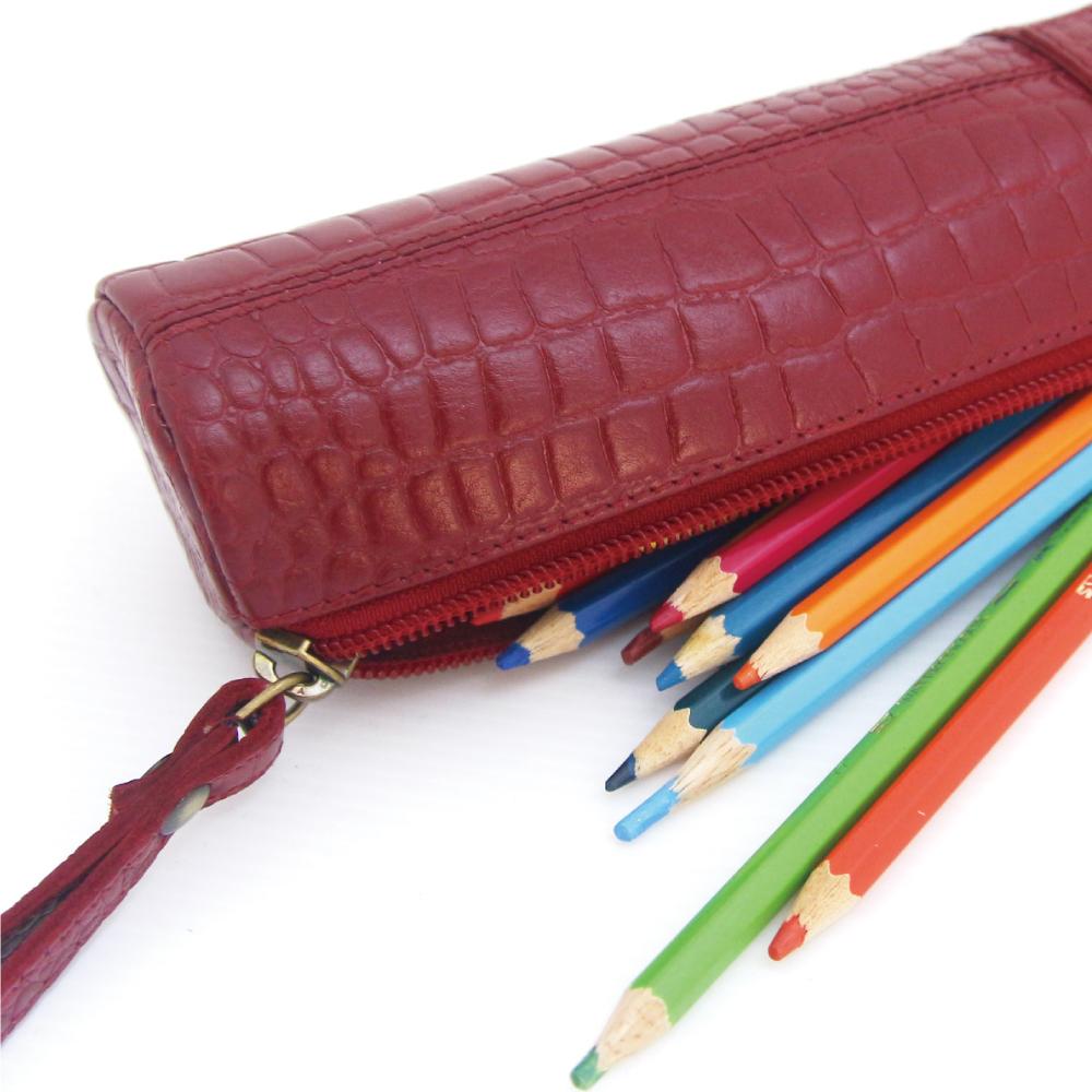 CALTAN - 男女用真皮圓筒拉鍊質感鉛筆袋鉛筆盒-2067紅鱷