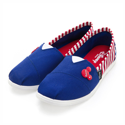 DISNEY 美式活力 經典款米奇條紋懶人鞋-藍