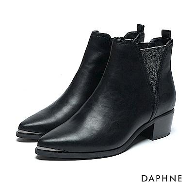 達芙妮DAPHNE 短靴-牛紋拼接金蔥彈性布英倫風踝靴-黑