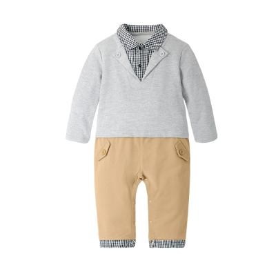baby童衣 學院風格紋假三件長袖連身衣 70109