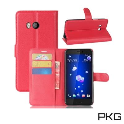 PKG HTC U11側翻式皮套經典皮革系列-瑰紅