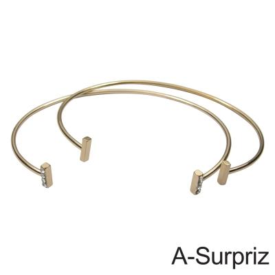 A-Surpriz 半圓雙環造型開口手環(金色)