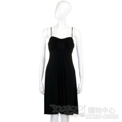 CLASS roberto cavalli 黑色百褶細肩帶洋裝