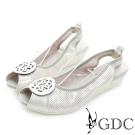GDC-金屬圓形飾扣沖孔真皮楔型魚口低跟鞋-白色