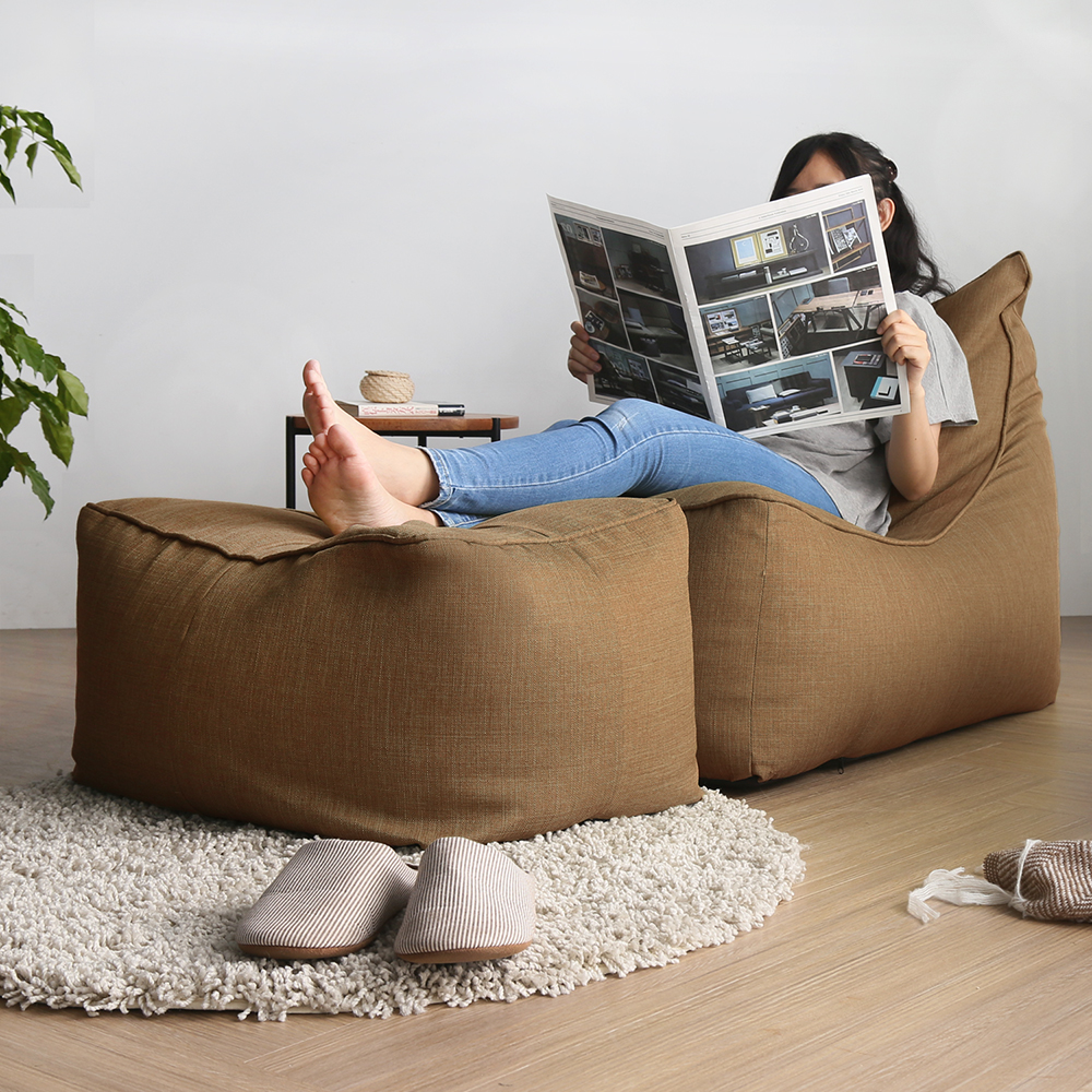 H&D MEADE簡約風舒適懶骨頭沙發(L型+凳)-多色選70*142*85