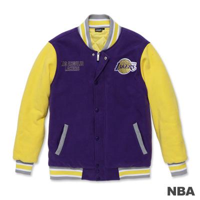 NBA-洛杉磯湖人隊繡花鋪棉撞色棒球外套-紫色(男)