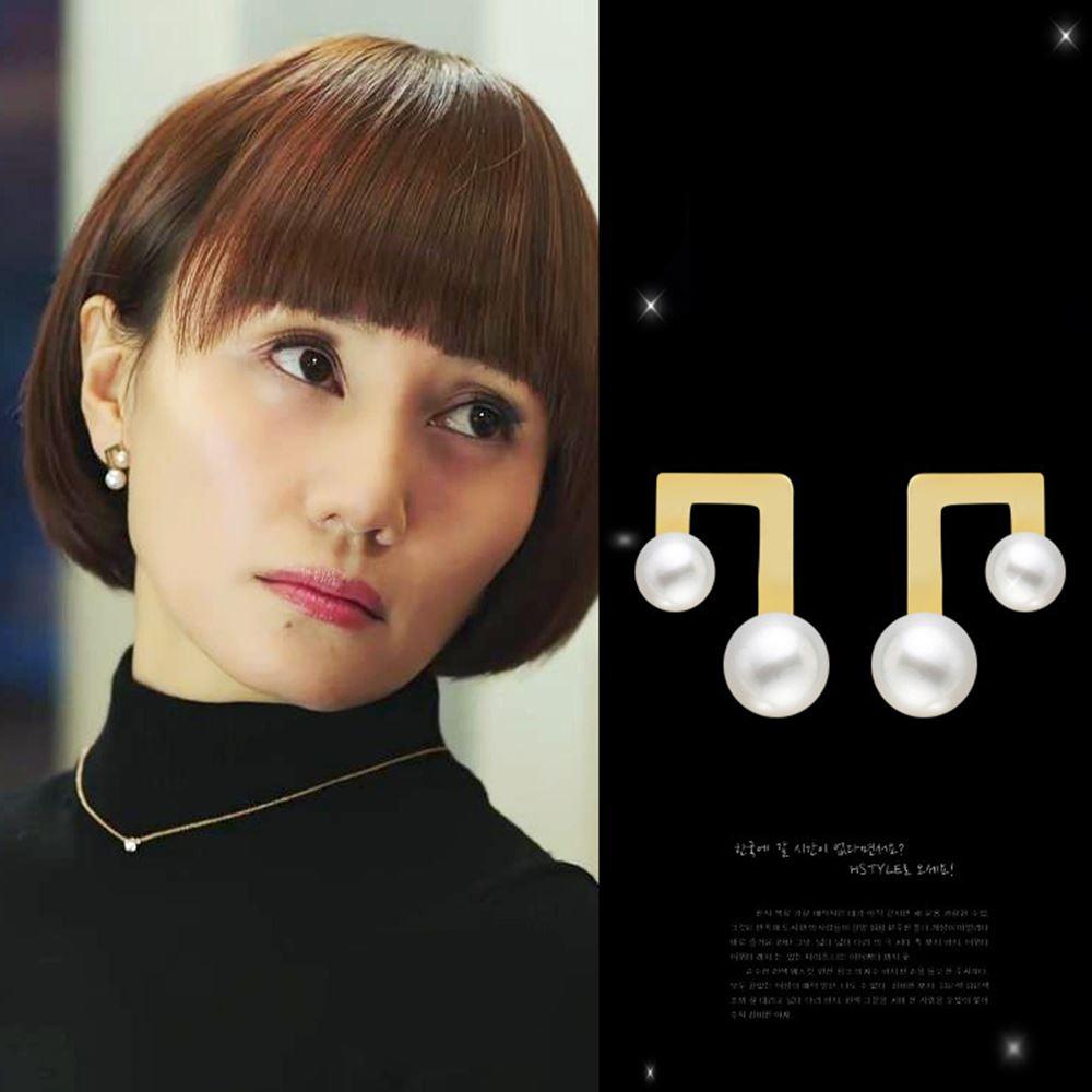 梨花HaNA 韓國明新同款大小珍珠音樂符號耳環