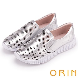 ORIN 引出度假氣氛 牛皮幾何簍空平底便鞋-銀色